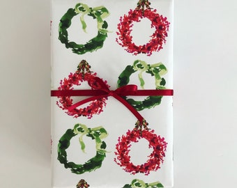 Wrapping Paper: Cranberry and Green Wreaths {Christmas, Holiday, Gift Wrap}