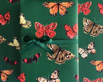 Wrapping Paper: Hunter Butterflies {Gift Wrap, Birthday, Holiday, Christmas}