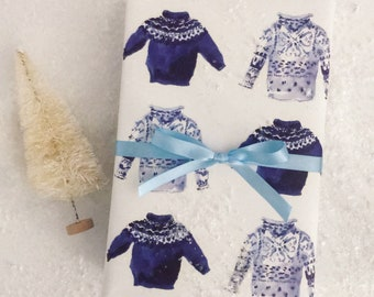 New! Wrapping Paper: Blue Fair Isle Sweaters {Gift Wrap, Birthday, Holiday, Christmas}