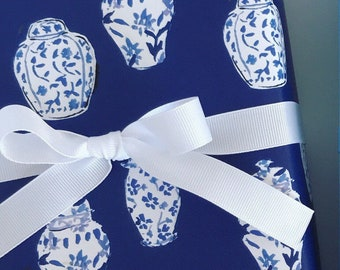 Wrapping Paper: Navy Ginger Jars {Gift Wrap, Birthday, Holiday, Christmas}