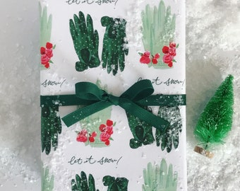 New! Wrapping Paper: Green Holiday Gloves  {Christmas, Holiday, Gift Wrap}