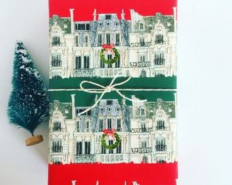 Wrapping Paper: Holiday Paris Apartments Red and Green {Gift Wrap, Birthday, Holiday, Christmas}