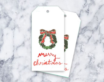 Wreath Tag: White {Gift Tag, Christmas, Holiday, Party}