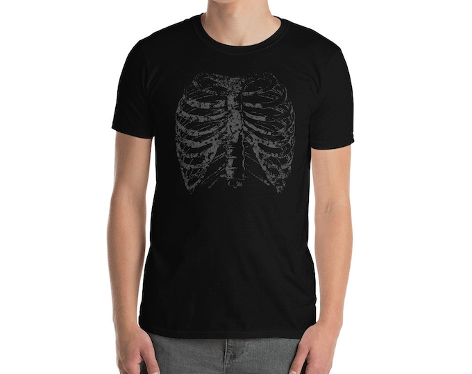 Featured listing image: Rib cage Shirt / Skeleton Shirt / Skull Design Shirt / Halloween T-Shirt / Creepy Streetwear / Short-Sleeve Unisex T-Shirt