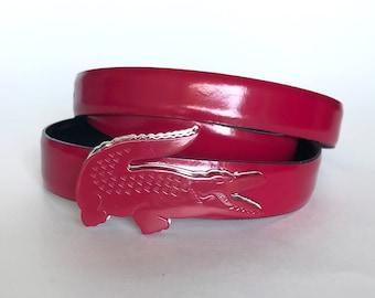 6f6c96a55c81d8 LACOSTE BELT WOMEN S Leather Pink Fuchsia Crocodile Buckle Authentic Rare