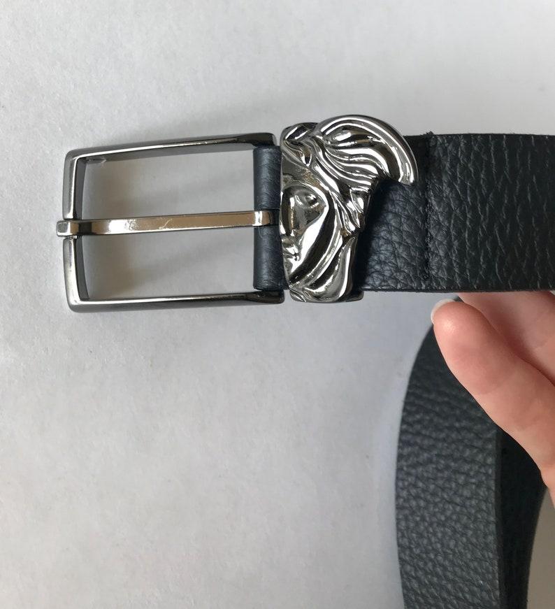 8547b508 VERSACE COLLECTION Men's BELT Black Leather Medusa Head Face Women's Belt  Authentic Rare