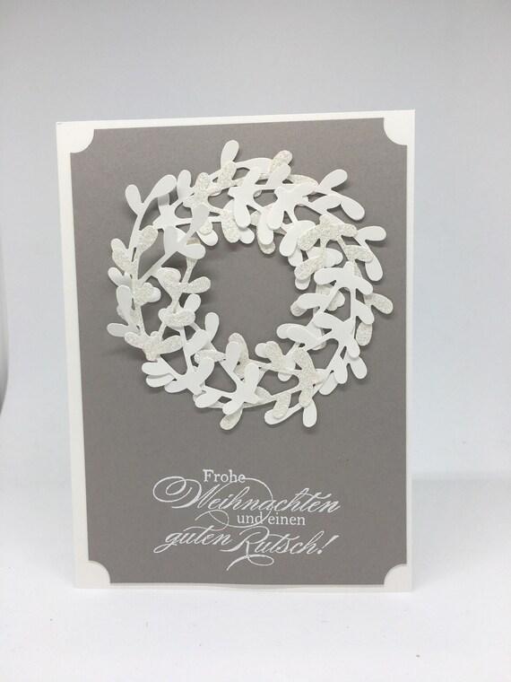 Edle Weihnachtskarten.Edle Weihnachtskarte Grau Weiss Mit Kranz