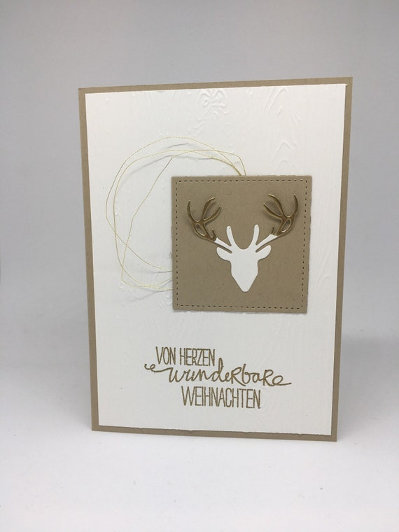 Edle Weihnachtskarten.Rustikal Edle Weihnachtskarte Mit Hirschkopf Und Holzoptik