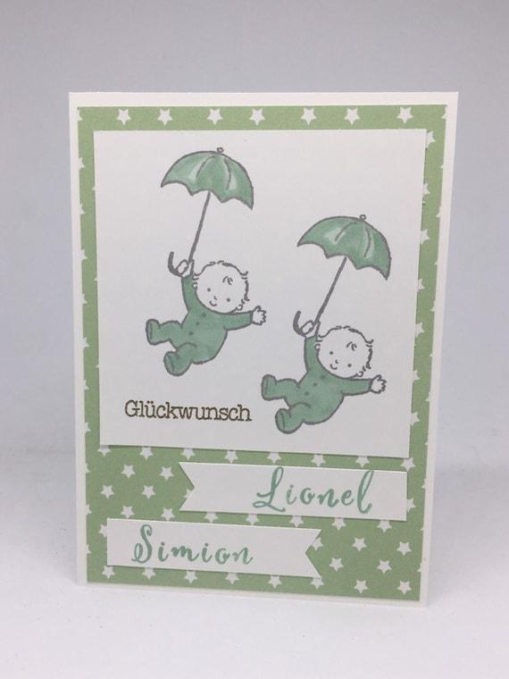 Handarbeit Namen personalisierbar M/ädchen Gl/ückwunschkarte Zwillinge Babykarte zur Geburt von Zwillingen