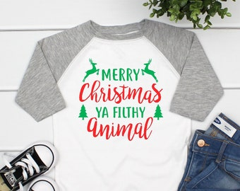 91edb56e Merry Christmas ya filthy animal kids, Christmas shirts for kids, Christmas  raglan shirt kids, toddler Christmas shirt funny
