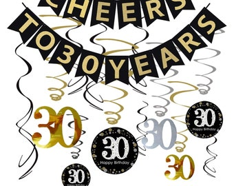 30th BIRTHDAY DECORATIONS For Her Party Supplies Decorations Black And Gold Dirty Thirty Cheers To 30 Years Anniversary Or Birthday