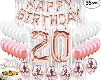 20th Birthday Decorations Party Supplies Balloons Rose Gold Hang Happy Banner Confetti Twenty Girl