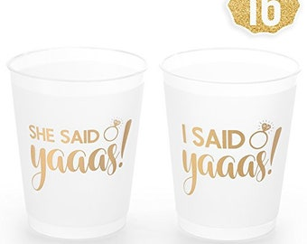 she said yaaas bachelorette party bridal shower cups w bonus 16 count 16 oz engagement party decoration and bride to be gift
