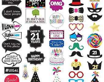 21st Birthday Photo Booth Party Props 40 Pieces