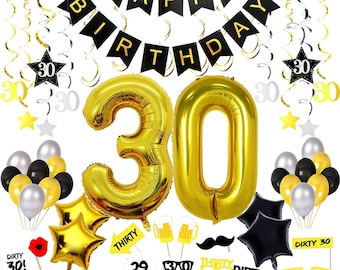 30th Birthday Decorations Happy Banner 30 Gold Balloons Sparkling Hanging Swirls Photo Booth Props Confetti For Table