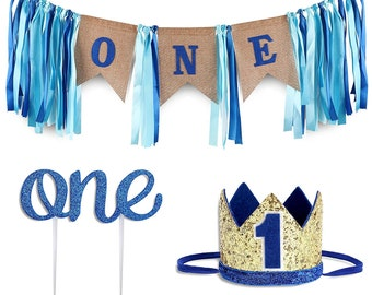Baby 1st Birthday Boy Decorations W Crown First High Chair Banner Cake Smash Party Supplies Happy ON