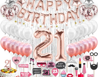 21st BIRTHDAY DECORATIONS Party Supplies And Rose Gold Decorations Banner