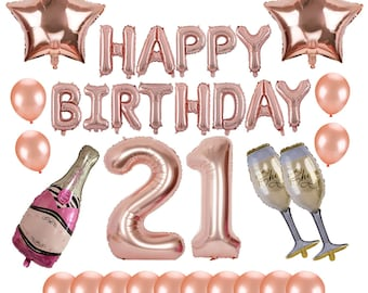 21st Birthday Decorations Happy Rose Gold Balloon Decoration 21 Number Foil BalloonChampagne Latex Supplies