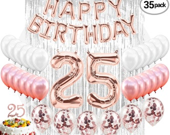 Birthday Decorations Happy 40 Rose Gold Number 25 Confetti Balloons Cake Topper 25th Party Supplies Photo Prop