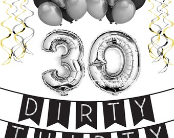 Dirty Thirty Birthday Party Pack Happy Bunting Poms And Swirls Decorations 30th Supplies
