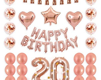 20th Birthday Decorations Party Supplies Balloons Rose Gold Hang Happy Banner Confetti Fifty Girl