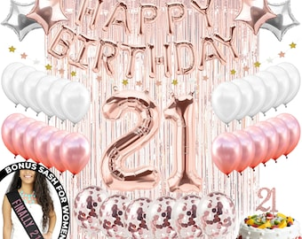 21st Birthday Decorations 21 Party Supplies Cake Topper Rose Gold Banner Finally Sash Confetti Balloons Her