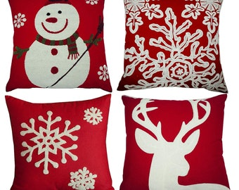 red embroidery christmas pillow covers set 4 snowmanchristmas deer snowflake merry christmas decorative throw pillow case covers 18x18