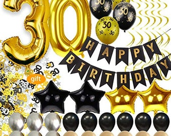 30th Birthday Decorations Her Him Men Women Dirty 30 Party Supplies Happy Banner Gold Balloons Confetti