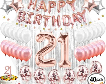 21st BIRTHDAY DECORATIONS 38 Pieces Cake Topper Party Supplies And Rose Gold Decorations Banner