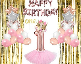 1st Birthday Decorations Girl 46 Pcs Bundle