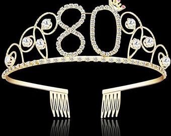 80th Birthday Party Decorations Supplies Crystal Tiara Crown Princess Hair Accessories Silver Rhinestone Diamant 80 Birthgold