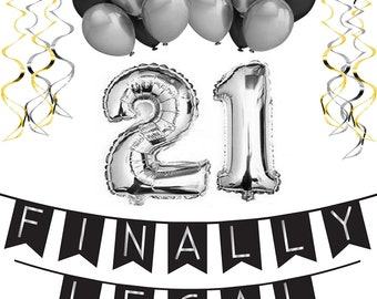 21st Birthday Party Pack Black Silver Happy Bunting Poms Swirls Decorations Supplies