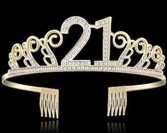 21st BIRTHDAY DECORATIONS Crystal Birthday Tiara Rhinestone Princess Crown Happy Crowns Silver Diamante Gold