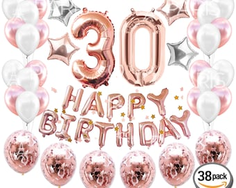 30th BIRTHDAY DECORATIONS Rose Gold 38 Pieces
