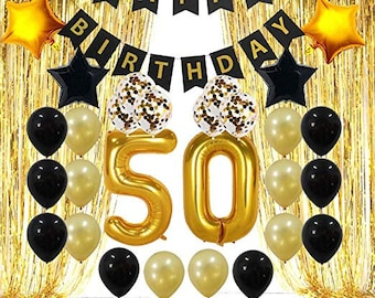 50th Birthday Decorations Gifts For Men Women 50 Party Backdrop Supplies Kit Foil Fringe Curtain Banner Balloons