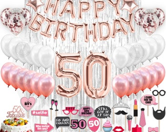 50th Birthday Decorations Party Supplies 50 Banner Rose Gold Confetti Balloons Her Silver Curtain Backdrop Props Photos Bday