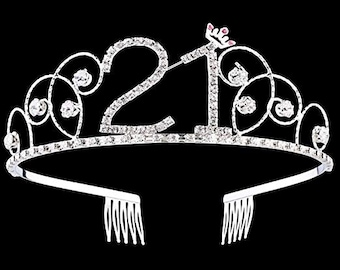 21st BIRTHDAY DECORATIONS Crystal Tiara Birthday Crown Princess Hair Accessories Silver Party Supplies Decorations