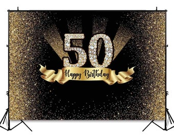 7x5ft Gold Black 50th Birthday Photography Backdrop Golden Glitter Diamonds Shiny Background Fifty Decoration Photo Banner Photobooth Props