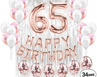 65TH Birthday Party Decorations Kit Happy Brithday Banner 65 Mylar Foil Balloon Latex Perfect Years Old Supplies Rose Gold