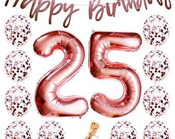 25th Birthday Decorations Party Supplies Balloons Rose Gold25th Banner25th For Women Props Photos