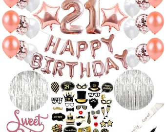 21st Birthday Decorations Happy Rose Gold Balloon Decoration 21 Number Foil Photoprops Latex Supplies