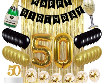 50th Birthday Decorations Party Supplies Gold Kit