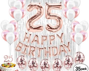 25th Birthday Decorations Party Supplies Balloons Rose Gold Banner25th Women Props Cake Topper Foil Curtian