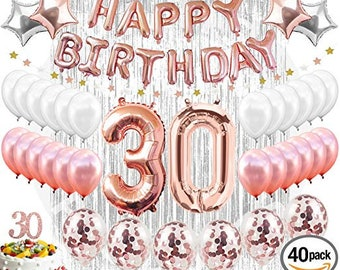 30th BIRTHDAY DECORATIONS Rose Gold Birthday Party Supplies Decorations 30 Cake Topper Silver Metallic Foil Curtain