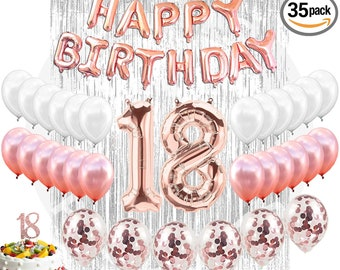 18th Birthday Decorations Party Supplies 18 Cake Topper Banner Confetti Balloons For Her Silver Curtain Backdrop Props Photos Bday