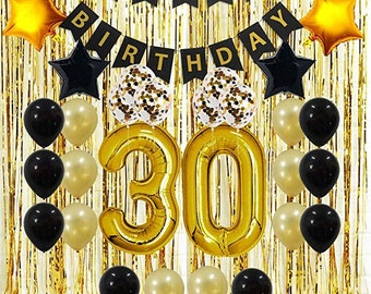 30th Birthday Decorations Her Him Men Women Dirty 30 Party Supplies Happy Banner Gold Foil Curtains Balloons