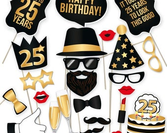 25th Birthday Photo Booth Props Party Decoration Supplies Him Her Funny Bday Photobooth Backdrop Signs Men