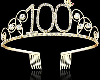 100th Century Birthday Party Decorations Supplies Crystal Tiara Crown Princess Hair Accessories Silver Rhinestone 100 Gold