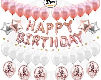 Happy BIRTHDAY GIRL DECORATIONS Rose Gold Confetti Balloons