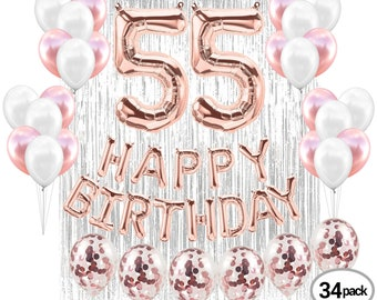 55th BIRTHDAY DECORATIONS Party Supplies Rose Gold Decorations Banner Props Photos Second Birthday Fiftyfive Bday